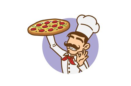 Delicious Big Tray Of Pizza Slice Logo Design Illustration Çizim