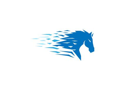 Blue Horse Logo Design Illustration