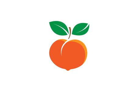 Illustration de conception de logo de graine de fruit de pêche