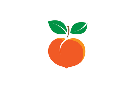 Peach  Fruit Seed Logo Design Illustration Vectores