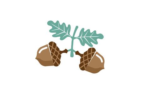 Acorn Fruit Seed Nut Logo Design Illustration Çizim