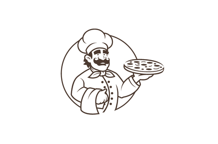 Black Chef Pizza Logo Design Illustration