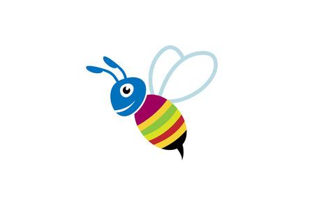 Cute Colorful Bee Smile Logo Design Illustration