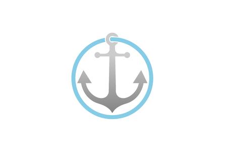 Creative Anchor Circle Logo Design Illustration