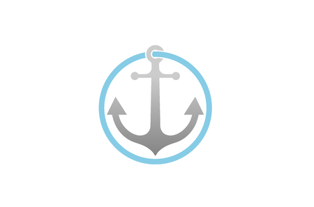 Creative Anchor Circle Logo Design Illustration