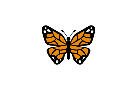 Creative Orange Butterfly Logo Design Illustration