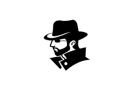 Hacker Detective Logo Design Illustration