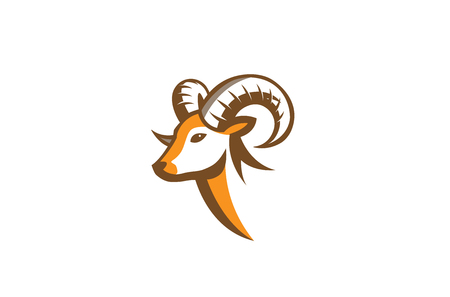 Furious Ram Horn Logo Design Illustration Иллюстрация
