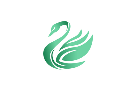 Creative Blue Green Gradient Abstract Swan Logo Design Illustration  イラスト・ベクター素材