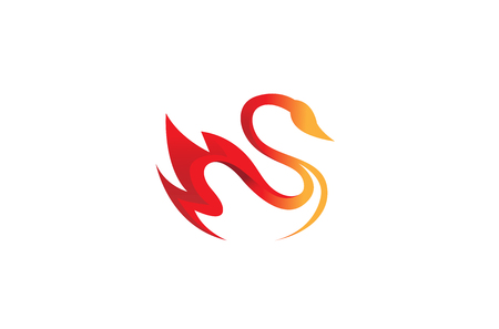 Creative Fire Orange Abstract Swan Logo Design Illustration