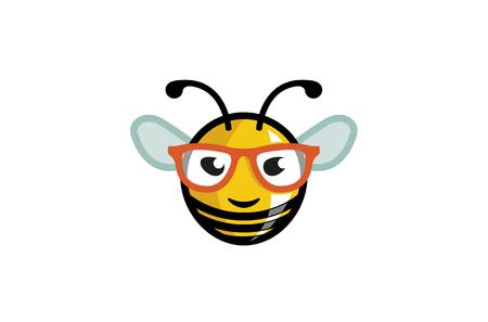 Cute Geek Bee Smile Logo Design Illustration