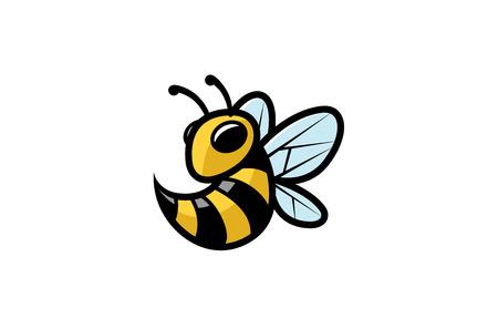 Creative Little Bee Attack Logo Design Illustration