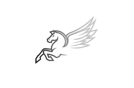 White Horse Pegasus Logo Design Illustration Illustration