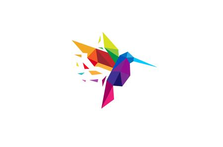 Creative Colorful Humming Bird Logo Design Illustration
