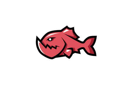 Creative Piranha Fish Logo Design Illustration