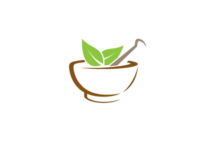 Abstract Herbal Pharmacy Mortar Logo Design Illustration