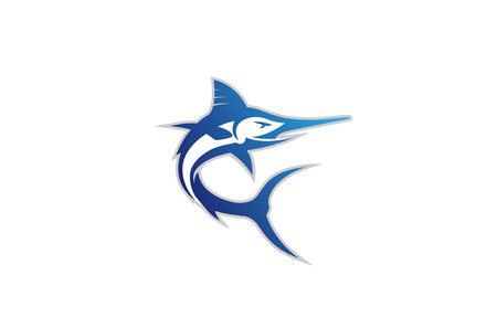 Creative Abstract Marlin Fish Logo Design Illustration