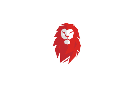 Red Polygonal Lion Head Logo Design Illustration