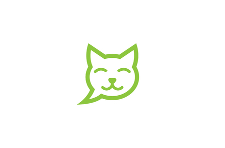Creative Pet Cat Head Bubble Chat Logo Design Illustration Ilustração