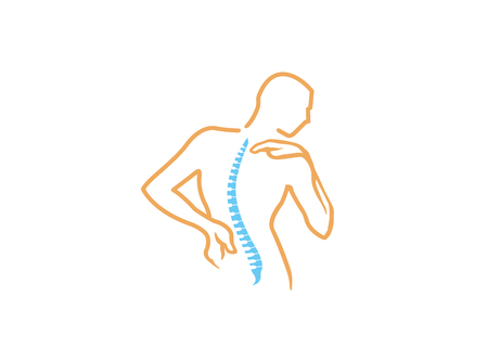 Chiropractic Body Pain Exercice Vector spine diagnostics symbol design Logo Illustration Stock Illustratie