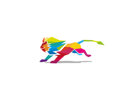 Creative Abstract Colorful Lion Logo Design Illustration