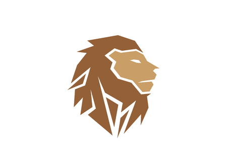 Creative Abstract Brown Lion Head Logo Фото со стока - 121530106