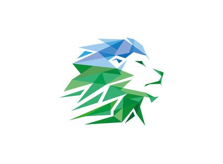 Green Creative Geometric Lion Head Logo Symbol Vector Design Illustration
