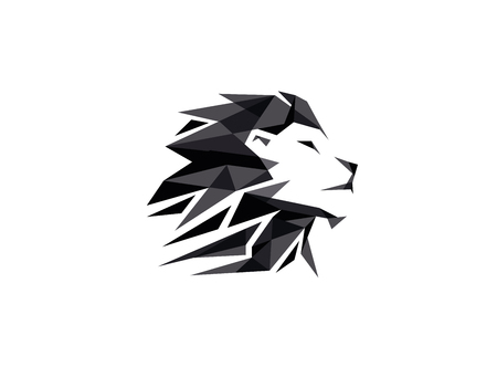 Black Creative Geometric Lion Head Logo Symbol Vector Design Illustration