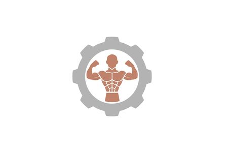 Creative Bodybuilder Muscle Gear Logo Design Illustration