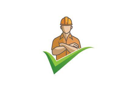 Creative Engineer Man arms folded Check Logo Design Illustration