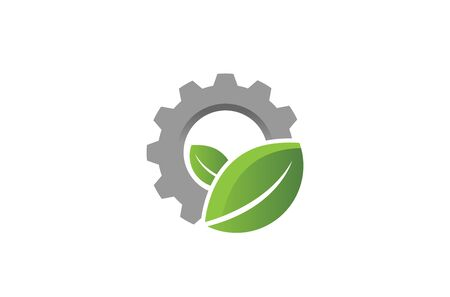 Creative Gear Leaf Agricultural technology Logo Design Illustration Vectores