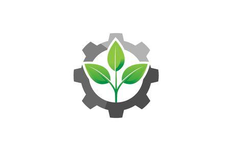 Creative Gear Leaf Technologie agricole Logo Design Illustration Logo