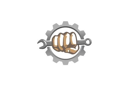 Creative Mechanic Gear Hand Wrench Logo Vector Design Illustration