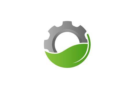 Creative Gear Leaf Tecnologia agricola Logo Design Illustration