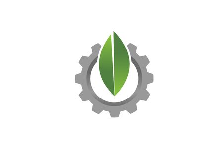 Creative Gear Leaf Agricultural technology Logo Design Illustration