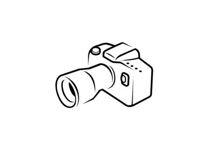 Creative Black Camera line Design Symbol Vector Illustration