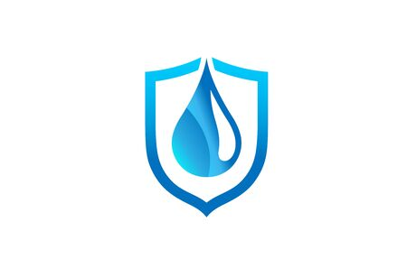 Creative Abstract Blue Droplet Shield Design Symbol Vector Illustration