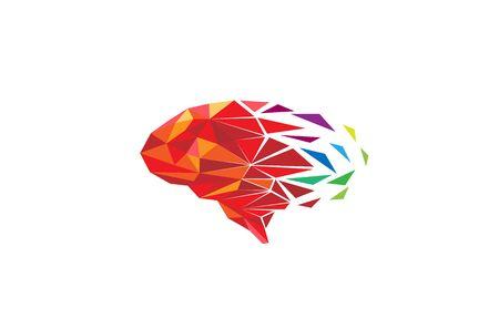 Creative Colorful Pixel Polygonal Brain Vector Illustration