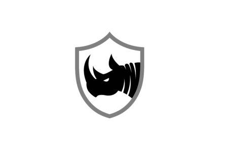 Creative Black Rhinoceros  Design Symbol Vector Illustration Illustration