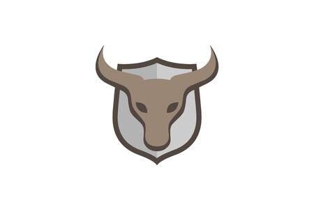 Creative Brown Bull Shield Design Symbol Vector Illustration