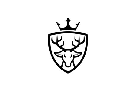 Creative Deer Head Crown Shield Design Symbol Vector Illustration