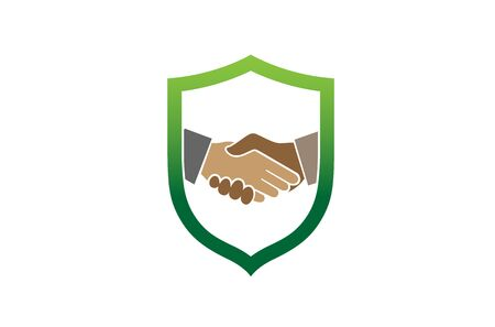 Creative Abstract Handshake Shield Design Symbol Vector Illustration Illustration