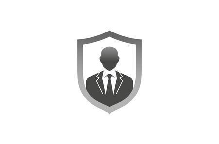 Creative Gentleman Tuxedo Shield Design Symbol Vector Illustration 向量圖像