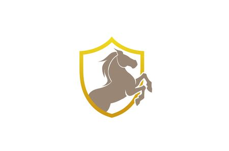 Horse Shield Logo Symbol vector Design Illustration