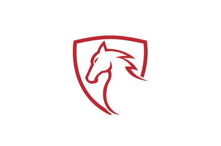 Creative Red Horse Shield Logo Design Symbol Vector Illustration
