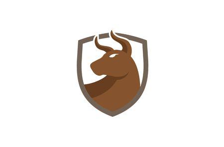 Creative Logo Brown Bull Shield Design Symbol Vector Illustration