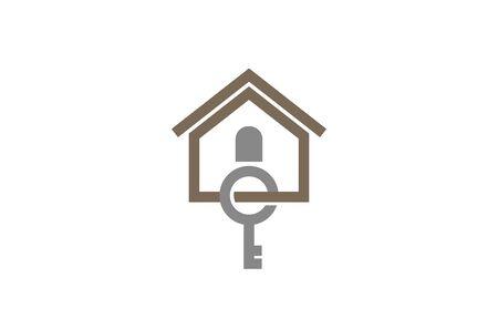 Creative Abstract House Key  Design Vector Symbol Illustration Illustration