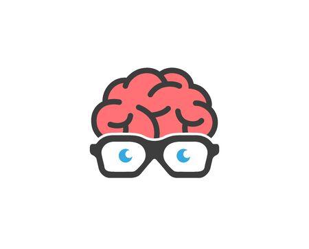 Ilustración de diseño de vector de gafas de geek de cerebro creativo