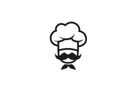 Creative Chef Head Moustache  Vector Design Illustration