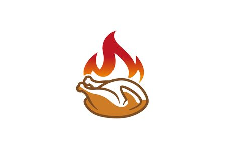 Creative Hot Chicken Fire  Design Symbol Vector Illustration